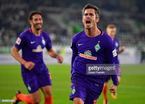 Fin Bartels of Bremen celebrates scoring his goal during the Bundesliga match between VfL Wolfsburg and SV Werder Bremen at Volkswagen Arena on...