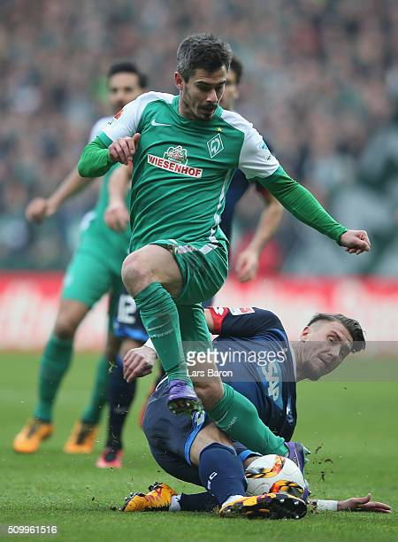 Fin Bartels of Bremen is challenged by Ermin Bicakcic of Hoffenheim during the Bundesliga match between Werder Bremen and 1899 Hoffenheim at...