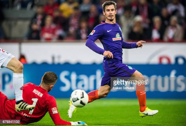 Fin Bartels of Bremen scores his teams first goal during the Bundesliga match between 1. FC Koeln and Werder Bremen at RheinEnergieStadion on May 5,...