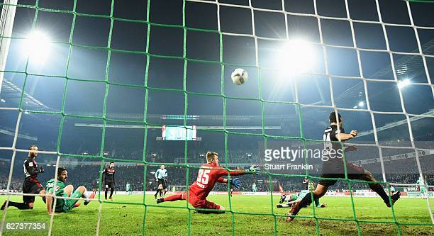Fin Bartels of Bremen scores the first goal during the Bundesliga match between Werder Bremen and FC Ingolstadt 04 at Weserstadion on December 3,...