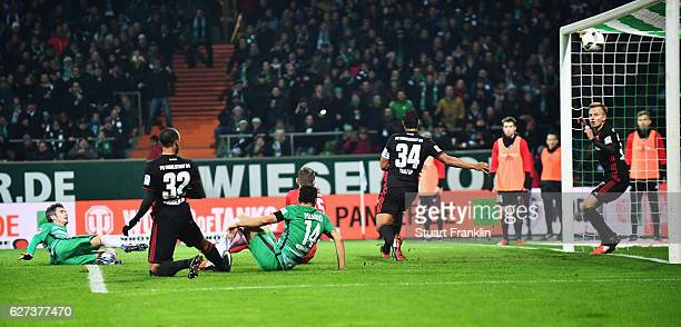 Fin Bartels of Bremen scores the first goal during the Bundesliga match between Werder Bremen and FC Ingolstadt 04 at Weserstadion on December 3 2016...