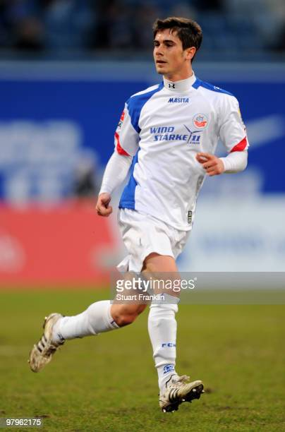 Fin Bartels of Rostock during the Second Bundesliga match between FC Hansa Rostock and MSV Duisburg at the DKB Arena on March 19, 2010 in Rostock,...