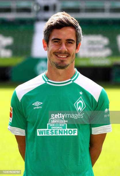 Fin Bartels of Werder Bremen poses during the team presentation at Weser Stadion on September 13, 2018 in Bremen, Germany.