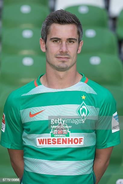 Fin Bartels poses during the offical team presentation of Werder Bremen on July 20 2016 in Bremen Germany