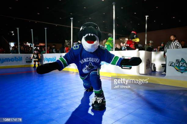 Fin the Whale of the Vancouver Canucks participates in the 2019 NHL AllStar Mascot Showdown on January 24 2019 in San Jose California