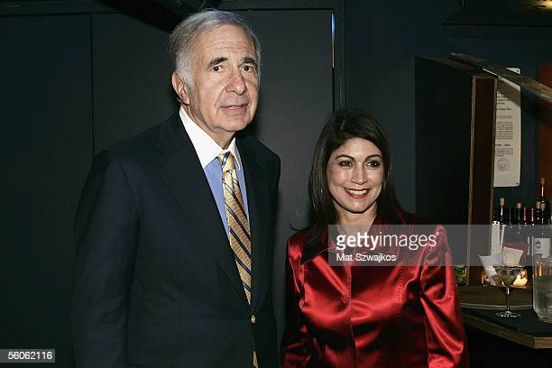 Finacier Carl Icahn is seen with owner Caroline Hirch at David Moore's Funny Business Show at Caroline's on Broadway on November 2 2005 in New York...