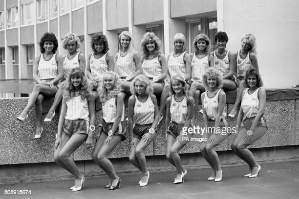 Final 15 of the United Kingdom contest lineup in London Fromleft back LesleyAnne Steele Miss Blackpool Lise Williams Miss Caernarvon Maria RiceMundy...