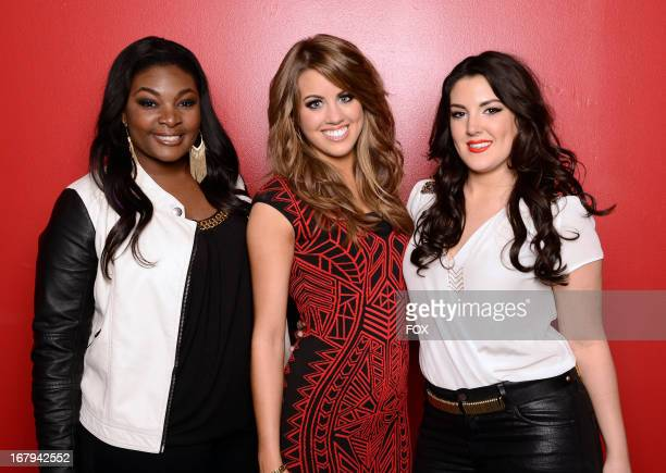 Final 3 contestants Candice Glover Angie MIller and Kree Harrison backstage at FOX's American Idol Season 12 Top 4 to 3 Live Elimination Show on May...
