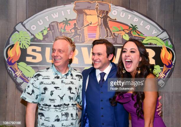Final 3 contestants Mike White winner Nick Wilson and Angelina Keeley attend the Survivor David Vs Goliath Finale at CBS Television City on December...