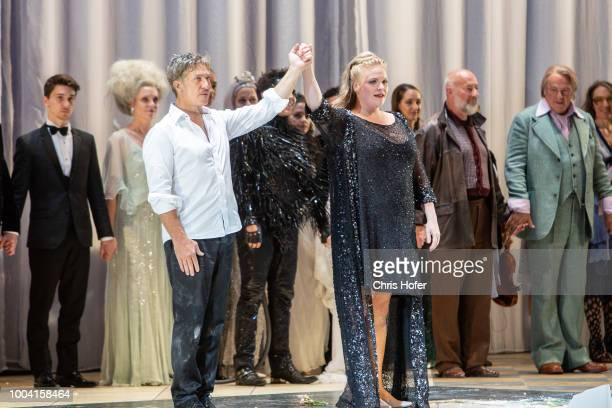 Director Michael Sturminger and Actress Edith Clever attends the premiere celebration of 'Jedermann' during the Salzburg Festival 2018 at Salzburg...