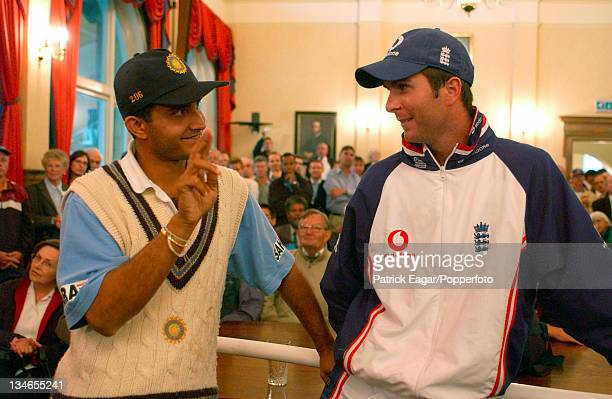 Final day's play abandoned to rain and match and series drawn the presentations were held in the AMP Oval Long Room Ganguly talking to Vaughan who...