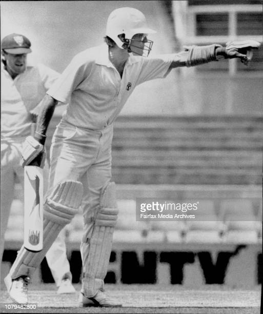 Final days play in the Sheffield Shield match between NSW And Tasmania N S W WonDirk Willham loses his cool at Greg Mathews and the umpire Wellham in...