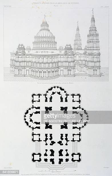 Final design by Antonio da Sangallo for St Peter's Basilica design based on a wooden model made by Antonio Labacco perspective lateral design and...