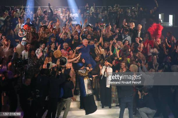 Final during the Jean-Paul Gaultier Haute Couture Spring/Summer 2020 show as part of Paris Fashion Week at Theatre Du Chatelet on January 22, 2020 in...