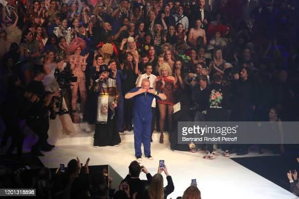 Final during the JeanPaul Gaultier Haute Couture Spring/Summer 2020 show as part of Paris Fashion Week at Theatre Du Chatelet on January 22 2020 in...