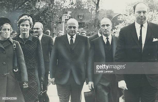 Final farewell Prime Minister Pierre Elliott Trudeau at right leaves Toronto's Timothy Eaton Memorial CHurch yesterday after attending a memorial...