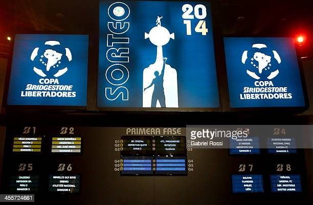 Final fixture is shown on TV screens during the Official Draw of Bridgestone LIbertadores Cup 2014 at CONMEBOL Building on December 12, 2013 in...
