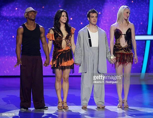 Final four contestants Brandon Bryant Jeanine Mason Evan Kasprzak and Kayla Radomski await the results at the So You Think You Can Dance finale held...