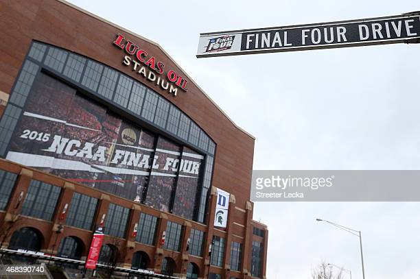 Final Four Drive street sign is seen outside Lucas Oil Stadium ahead of the 2015 NCAA Men's Final Four on April 2 2015 in Indianapolis Indiana