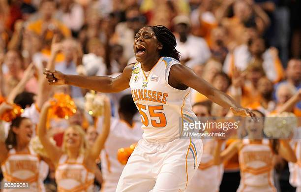 Final Four Nicky Anosike of the Tennessee Lady Volunteers celebrates after their 6448 win against the Stanford Cardinal during the National...