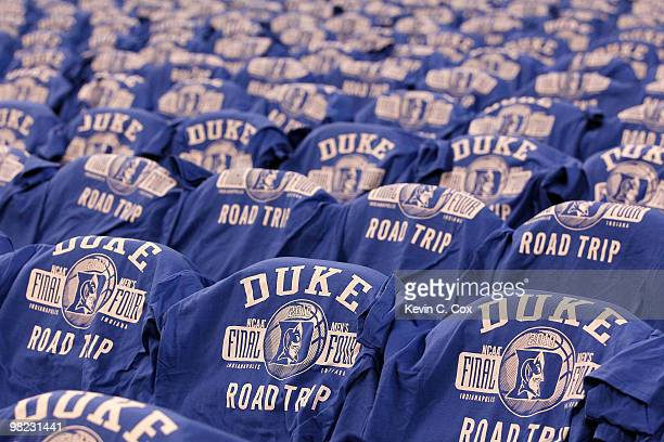 Final four tshirts with the logo of the Duke Blue Devils are seen on the backs of chairs against the West Virginia Mountaineers during the National...