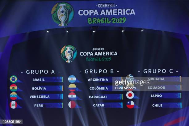 Final groups for Copa America 2019 are displayed on the big screen during the Copa America 2019 Official Draw at Cidade das Artes on January 24 2019...