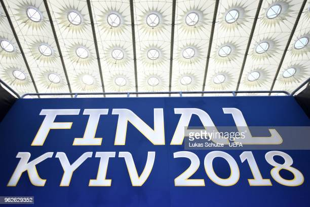 A final logo is seen inside the stadium prior to the UEFA Champions League Final between Real Madrid and Liverpool at NSC Olimpiyskiy Stadium on May...