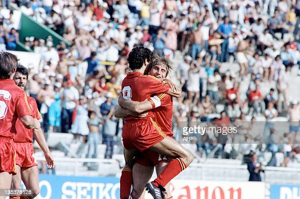 Final match between Soviet Union and Belgium, in Leon, Mexico, on June 15, 1986. Belgium players hug each other after their football team won the...