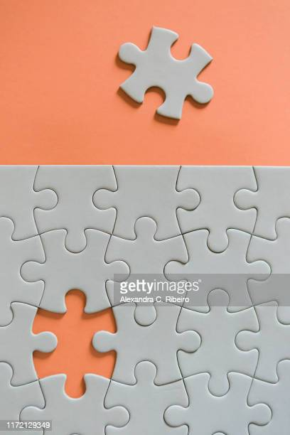 final missing jigsaw puzzle piece - 電動糸のこ ストックフォトと画像