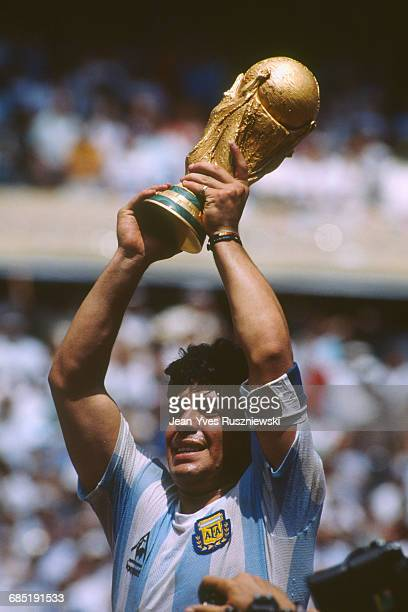 Final of the 1986 FIFA World Cup in the Azteca stadium. Argentina vs Germany. Argentina won 3-2. Diego Maradona holding the trophy.