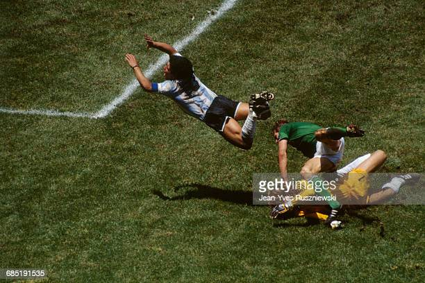 Final of the 1986 FIFA World Cup in the Azteca stadium. Argentina vs Germany. Argentina won 3-2. Argentina's Diego Maradona dives over Germany's...