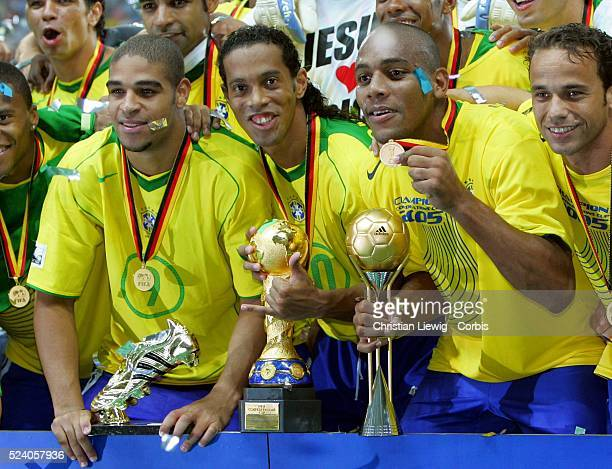 Final of the 2005 FIFA Confederations Cup Brazil vs Argentina Brazil won 41 Adriano who received the tournament trophy for Best Player and top scorer...