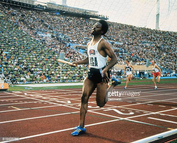 Final of the Olympic 4 x 100 meter relay in Munich Eddie Hart of the USA crosses the finish line giving USA the gold medals He is followed next by...