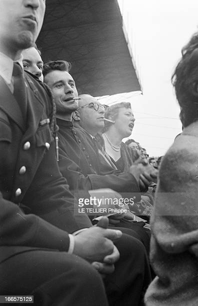 Final Of The Soccer French Cup 1955 A Colombes lors du match de finale de la coupe de France de football 1955 opposant l'équipe de l'Olympique...