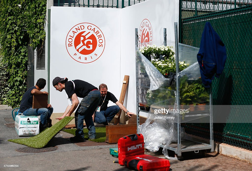 Final preparations ahead of the 2015 French Open at Roland Garros on May 23, 2015 in Paris, France.