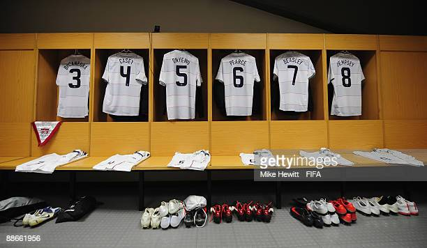 Final preparations are complete in the USA changing room prior to the FIFA Confederations Cup Semi Final between Spain and USA at the Free State...