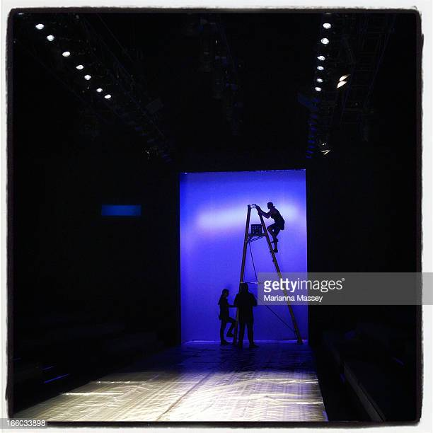 Final preparations are made ahead of the MercedesBenz Fashion Week Australia Spring/Summer 2013/14 at Carriageworks on April 7 2013 in Sydney...