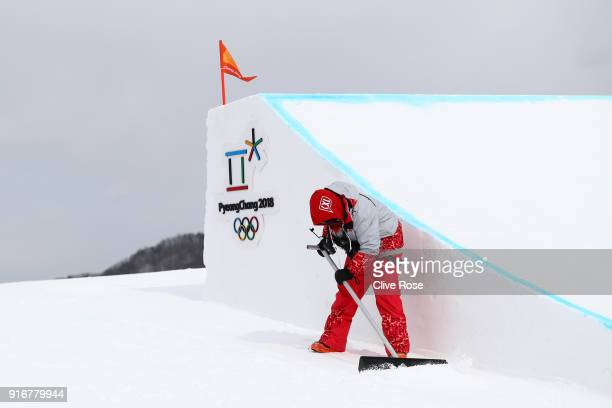 Final preparations are made ahead of the Snowboard Ladies' Slopestyle Qualification on day two of the PyeongChang 2018 Winter Olympic Games at...