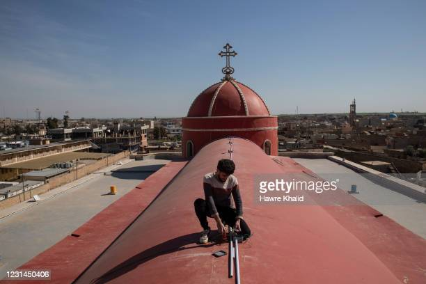 Final preparations are made at the Al-Tahira church in Qaraqosh, one of the churches that will be visited by Pope Francis on his first visit ever to...