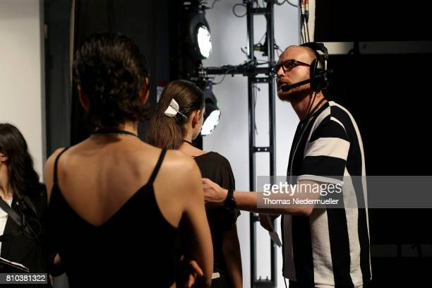 Final preparations are made backstage ahead of the Michael Sontag show during the MercedesBenz Fashion Week Berlin Spring/Summer 2018 at Kaufhaus...