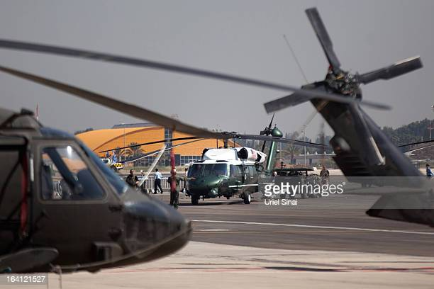 Final preparations are made before an official welcoming ceremony for US President Barack Obama on his arrival at Ben Gurion Airport on March 2013...