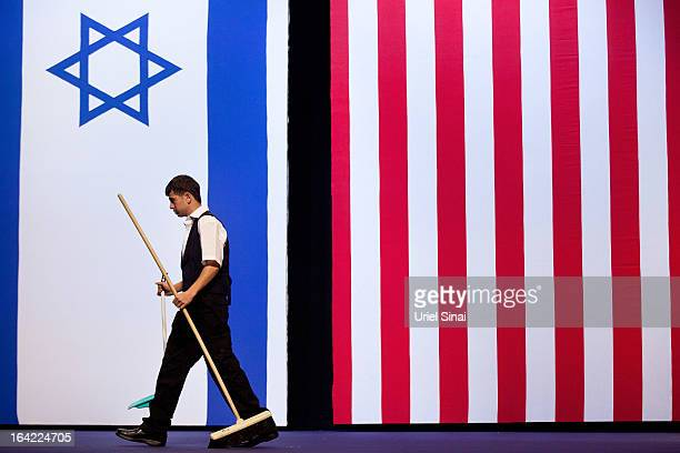 Final preparations are made before US President Barack Obama's speech to Israeli students on March 21 2013 in Jerusalem Israel This is President...