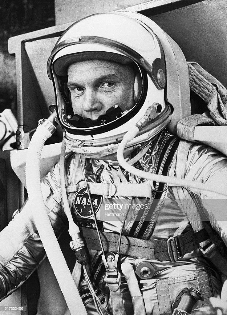 John Glenn in a Spacesuit Before Takeoff : News Photo