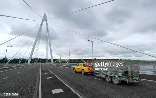 Final preparations are made on the new Northern Spire bridge spanning the River Wear as it is officially opened to traffic on August 29 2018 in...
