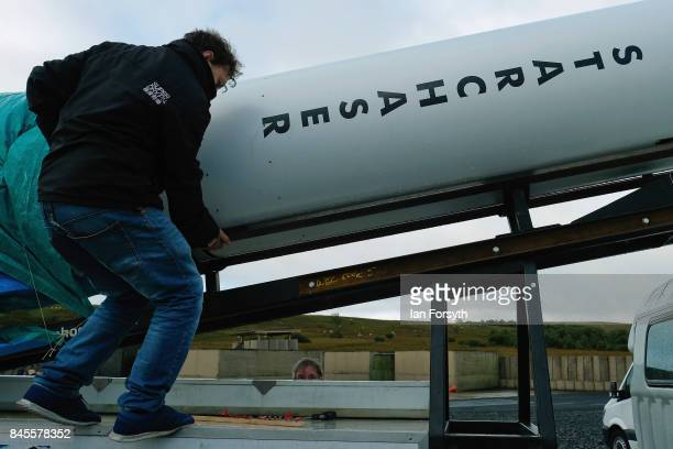 Final preparations are made to the Skybolt 2 Research Rocket before it is raised into the launch position before take off from Otterburn in...