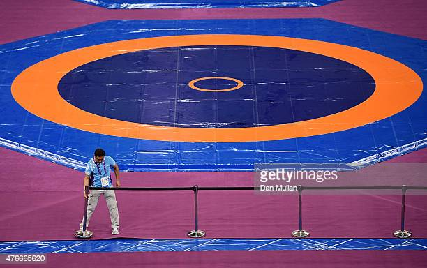 Final preparations are made to the wrestling mats at the Heydar Aliyev Arena ahead of Baku 2015 the first European Games on June 11 2015 in Baku...