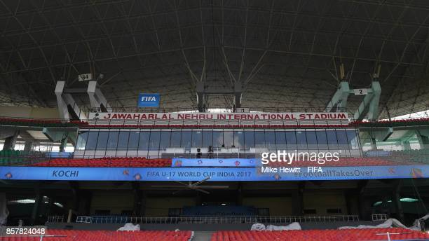 Final preparations take place at the Jawaharlal Nehru International Stadium ahead of the FIFA U17 World Cup India 2017 tournament at on October 5...