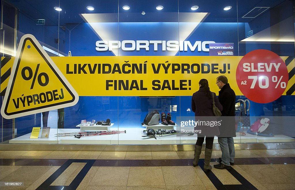 A final sale sign hangs in the window of a Sportisimo sports goods store in Prague, Czech Republic, on Sunday, Feb. 17, 2013. Worsened outlook for Czech economy is in line with the government's expectations and lower-than-planned tax revenue is 'manageable' under 2013 budget, Prime Minister Petr Necas said on Czech public television. Photographer: Martin Divisek/Bloomberg via Getty Images