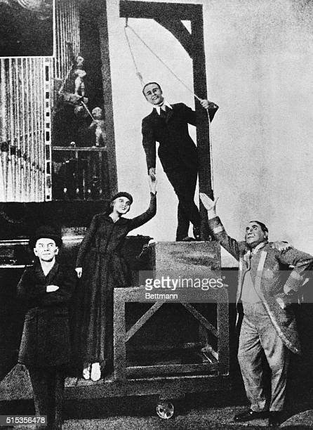 1928 Final scene from premier of Kurt Weill's 'Three Penny Opera' in 1928 Harold Paulsen as 'Mack the Knife' Standing left to right Erich Ponto Roma...