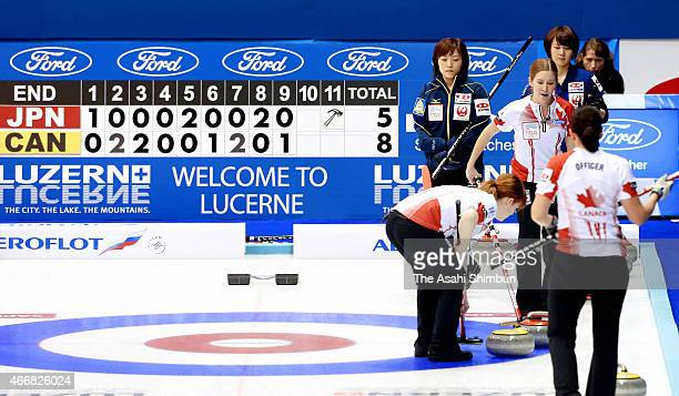 Final score is displayed after a round-robin match between Japan and Canada during day six of the World Women's Curling Championship at Tsukisamu...